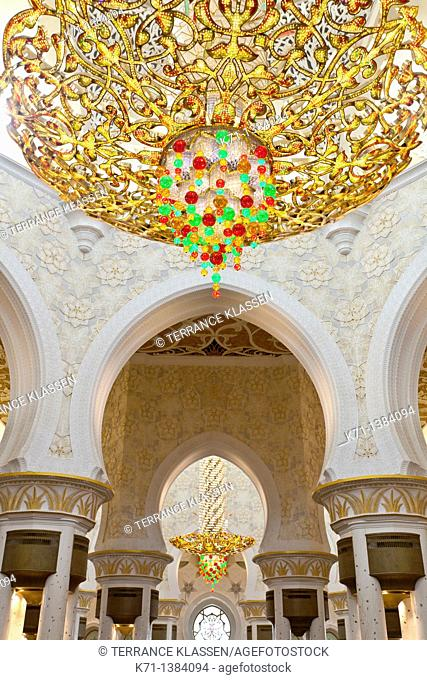 Interior architecture with chandelier in the Sheikh Zayed Grand Mosque in Abu Dhabi, UAE