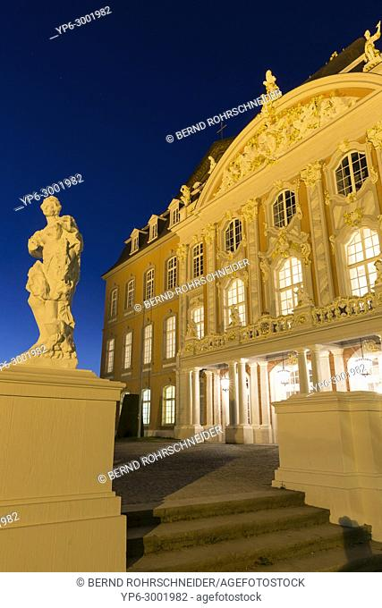 palace of Trier with statue at night, Trier, Rhineland-Palatinate, Germany