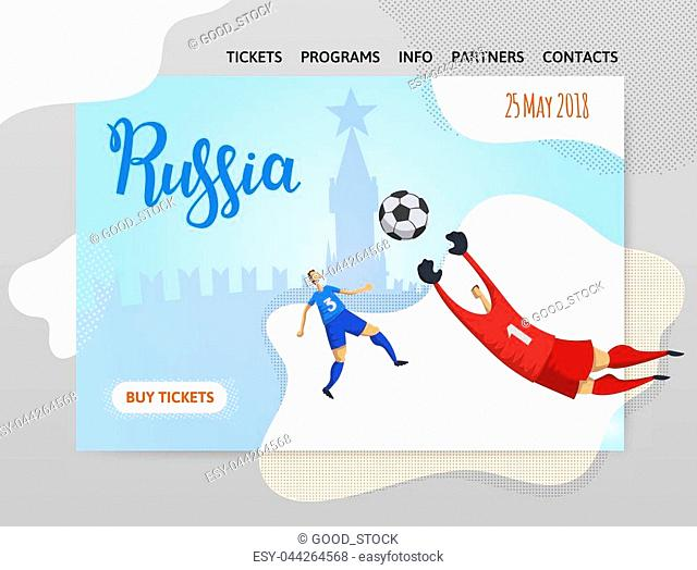 Russia and football. Players on Moscow background. Copyspace. Design template of website, poster, print media. Vector illustration