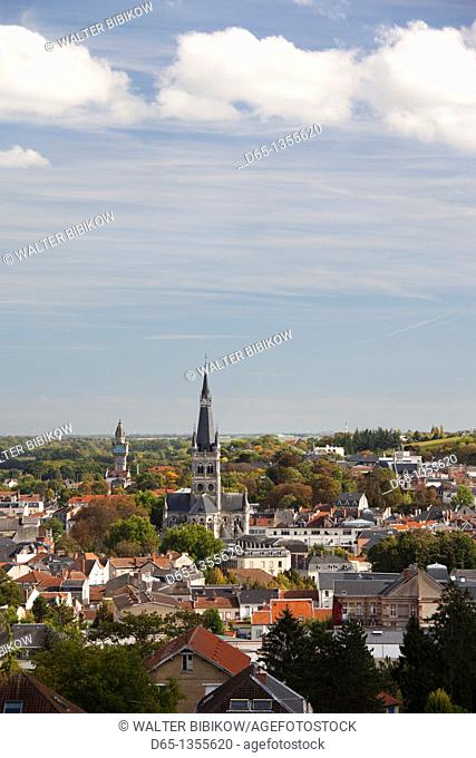 France, Marne, Champagne Region, Epernay, town overview with Eglise Notre Dame church