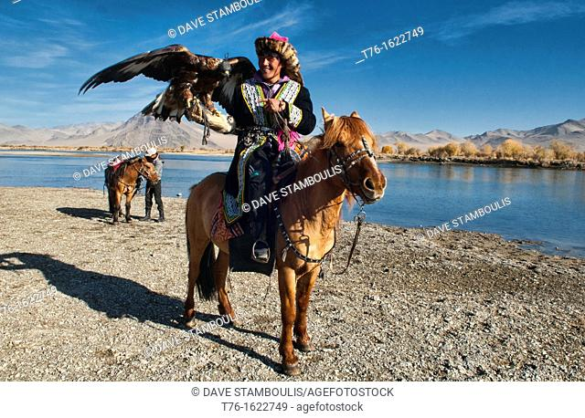 Kazakh eagle hunters and their golden eagles in the Altai Region of Bayan-Ölgii in Western Mongolia