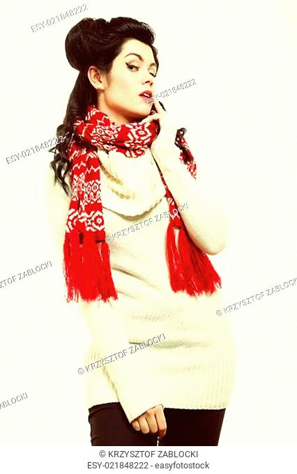 woman retro hairstyle warm clothing winter fashion