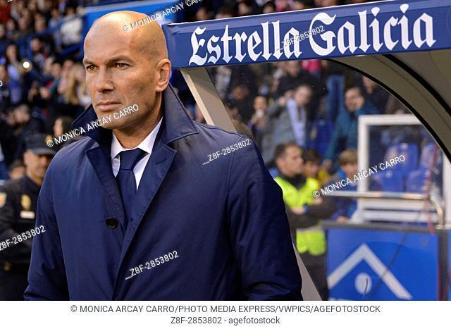 LA CORUNA, SPAIN. April 26th, 2017 - Zinedine Zidane. La Liga Santander matchday 34 game between Deportivo de La Coruna and Real Madrid