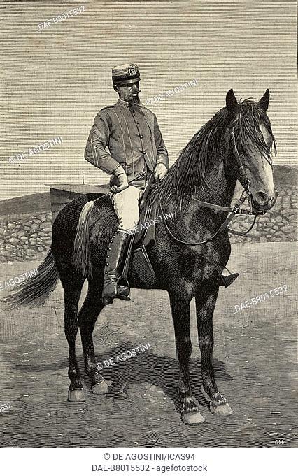 Lionello Bettini, Italian military officer, on horseback, Asmara, Eritrea, engraving from a photograph by Scotti, from L'Illustrazione Italiana, year 19, no 14