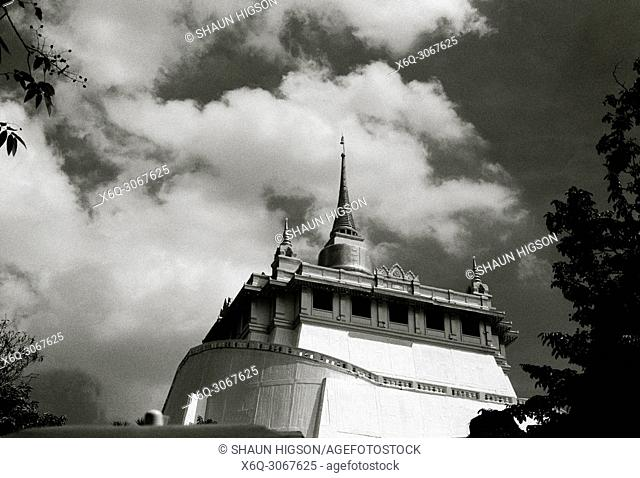 Buddhist shrine of Wat Saket Ratcha Wora Maha Wihan Golden Mountain Temple in Bangkok in Thailand in Southeast Asia Far East