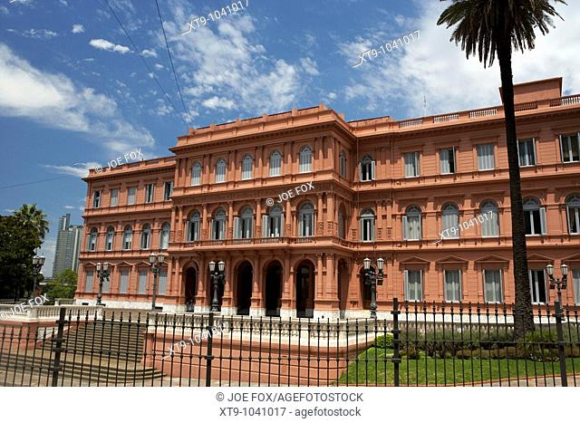 north wing and porte cochere of the casa rosada the pink house official seat of the executive branch of the government of argentina capital federal buenos aires...