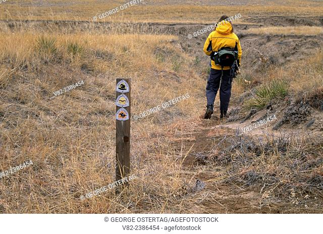 Oregon Trail/California Trail/Pony Express Trail ruts with sign, Scotts Bluff National Monument, Nebraska