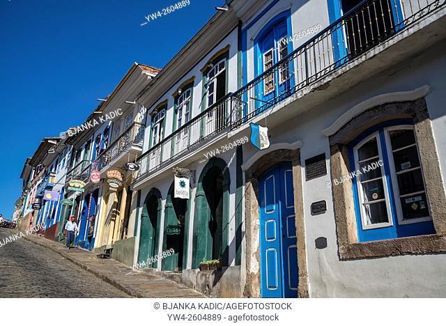 Colourful historical houses, Ouro Preto, Minas Gerais, Brazil