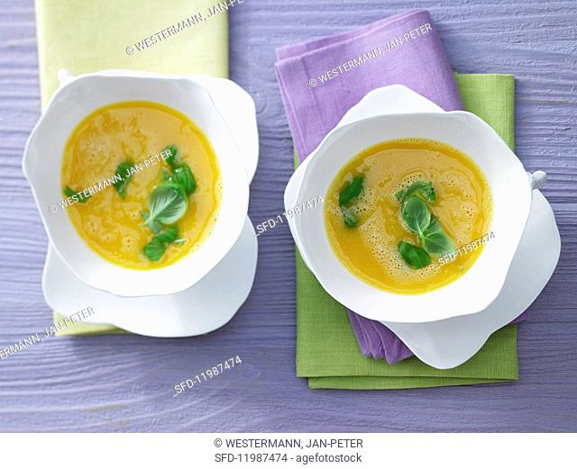 Apricot & carrot soup with chilli and honey