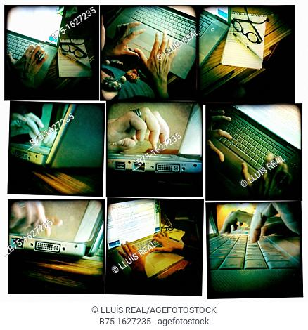 Digital image composition of female hands on laptop keyboard working