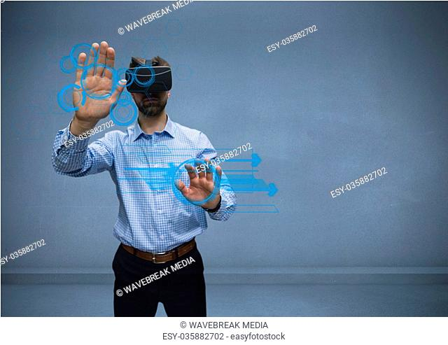 man in shirt with vr using interface