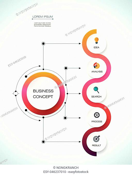 Vector infographic template with timeline 3D paper label, integrated circles. Business concept with options. For content, diagram, flowchart, steps, parts