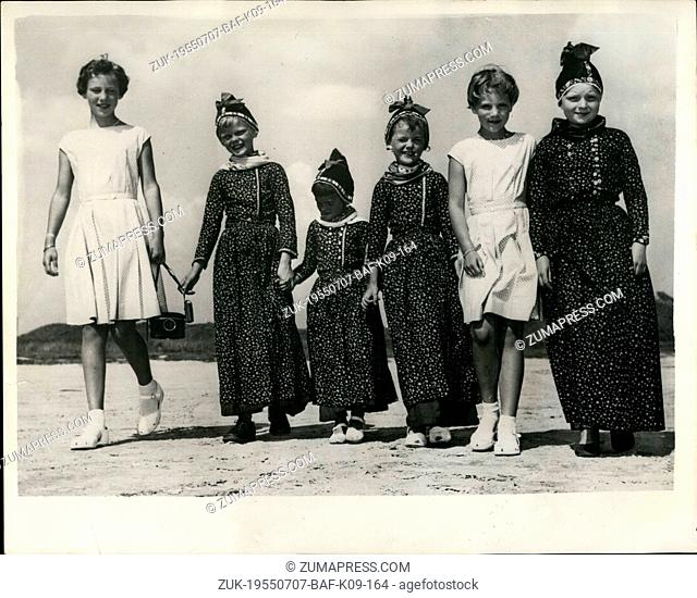 Jul. 07, 1955 - Danish Royal family visit Fanoe Princesses and their colorful friends.: King Fredereick - Queen Ingrid and their three daughter - Princesses...