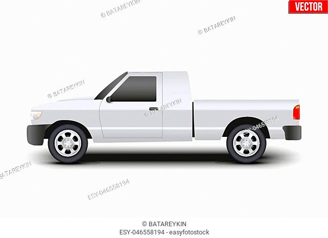 Original classic Pickup truck. Business design of cargo transportation and service. Editable Vector illustration Isolated on background