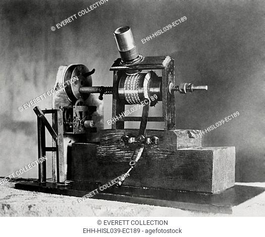 Edison's First Movie Machine, the Kinetoscope, was a 'Talkie'. In 1886 the clockwork turned one shaft causing the small pictures to seem to move when viewed...