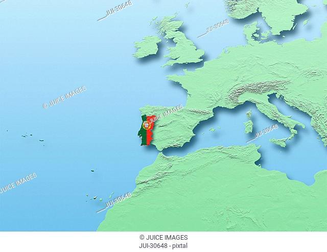 Portgal, bicolour, flag, map, Western Europe, green, blue, physical, political