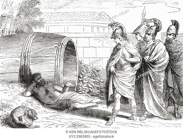 The alleged meeting between Diogenes, who was relaxing in the morning sunlight, and Alexander the Great. Alexander, thrilled to meet the famous philosopher