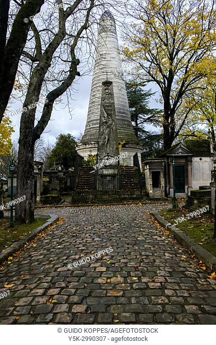 Paris, France. Tombs for deceased relatives at graveyard and cementary Pere La Chaise. The cemetery is one of the major travel destinations of the capital