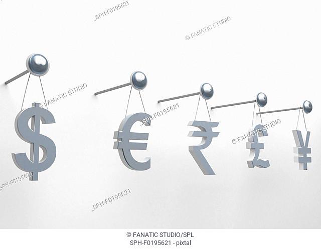 International currencies hanging on nail, illustration