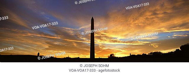 Washington National Monument at Sunrise in Washington D.C. in panoramic format