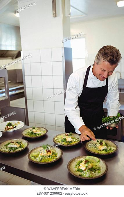 Male chef garnishing appetizer in plate