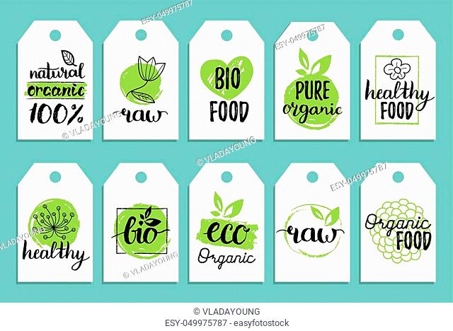 Vegan, healthy food cards or tags set for cafe, restaurant, packaging etc. Vector eco, organic, bio signs with hand lettering
