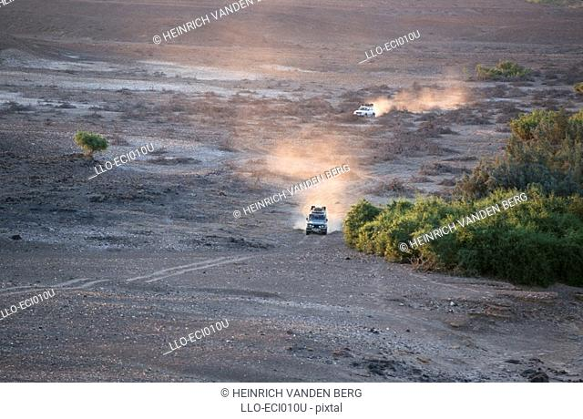 4X4 Vehicles Crossing Desert Landscape  Richtersveld National Park, Northern Cape Province, South Africa