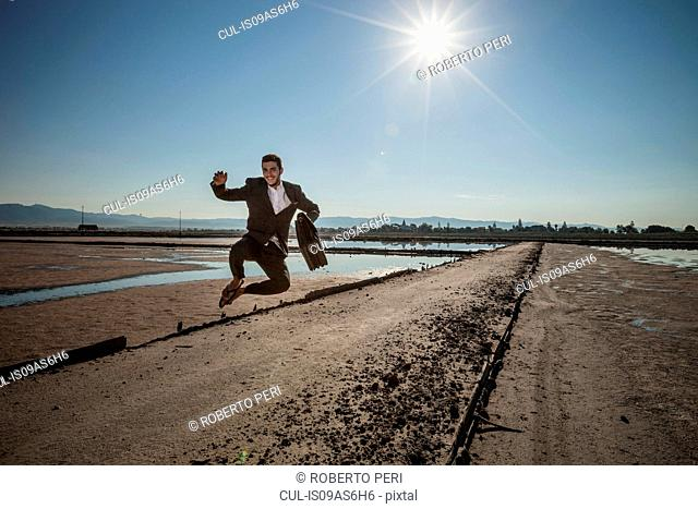 Mid adult businessman carrying briefcase jumping mid air at beach