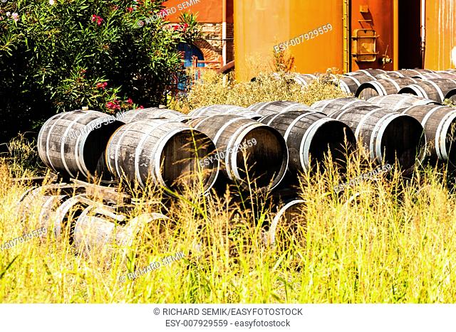 casks in front of wine cellar, Languedoc-Roussillon, France