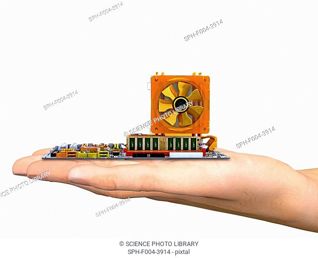 Computer artwork of a hand holding a computer motherboard, the main circuit board of a personal computer PC. Motherboard components include transistors, diodes