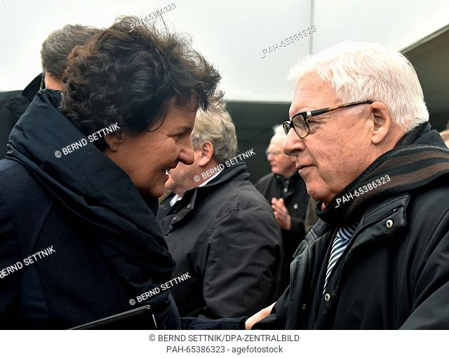 President of the Brandenburg State Parliament, Britta Stark speaks to Belgian concentration camp survivor Bruno Peeters at a memorial ceremony at the former...