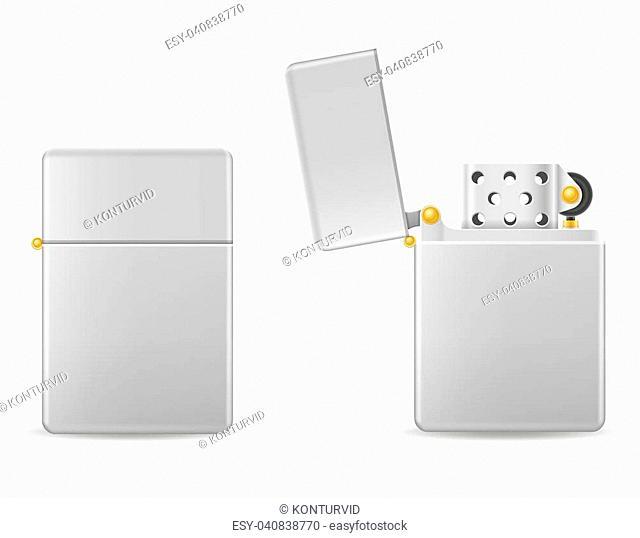 metal gasoline lighter vector illustration isolated on white background