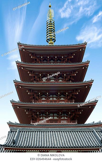 The Goju-no-to five-storied pagoda at Sensoji Temple, Asakusa District, Tokyo, Honshu Island, Japan. The Oldest Buddhist Temple of Tokyo