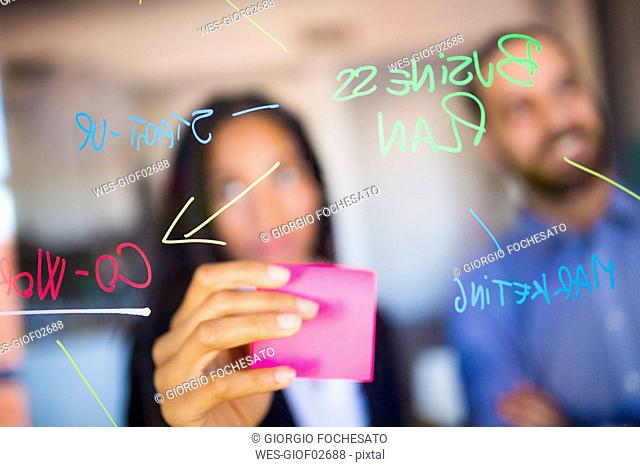 Businessman and businesswoman brainstorming in office