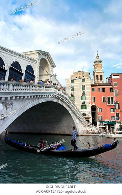 Gondolas and the Rialto Bridge, Venice, Italy