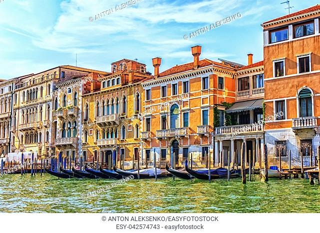 Godolas and beautiful old palaces of Venice, the Grand canal