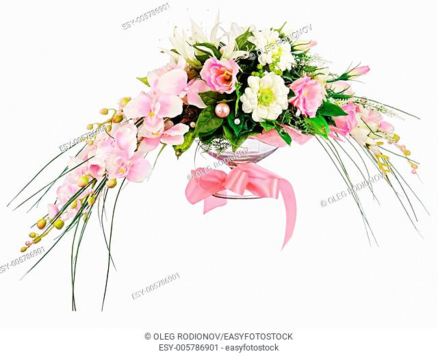 Floral bouquet of roses and orchids arrangement centerpiece isolated on white background. Closeup