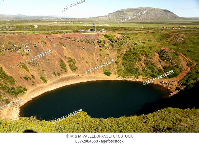 Iceland, Grimsnes, Kerid, Volcanic crater