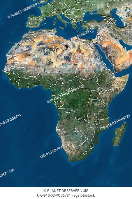 Satellite view of Africa (with country boundaries). This image was compiled from data acquired by Landsat 7 & 8 satellites