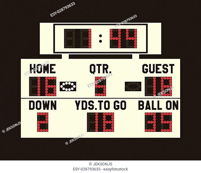 LED american football scoreboard with fully editable data, timer and space for user info. Usa sports board for web, app or print. Flat stylish design