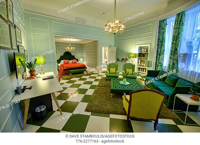 snazzy room design at the Grand Hotel in Oslo, Norway