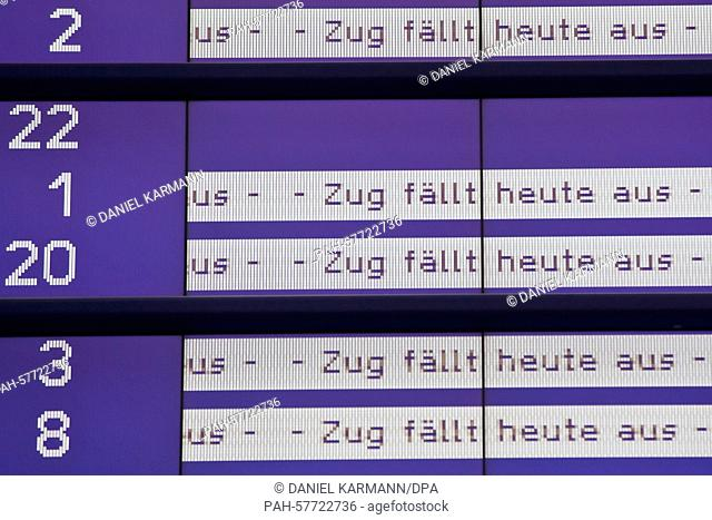 'Train cancelled today'can be read on a display at the main train station in Nuremberg, Germany, 23 April 2015. The GDLtrain drivers' union strike continues...