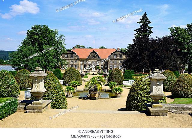 Germany, Saxony-Anhalt, Blankenburg, Harz, small castle with baroque garden