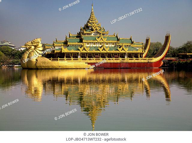 Myanmar, Yangon, Yangon. The Karaweik Royal Barge on the eastern shore of Kandawgyi Lake in Yangon in Myanmar