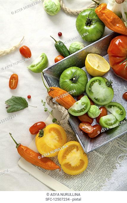Various tomatoes and chilli peppers