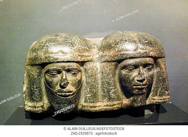 Egypt, Alexandria, National Museum, corbel with heads of northern enemies. Saqqara, Djoser pyramidal complex. Granit