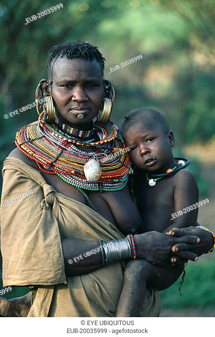 Pokot woman and child from cattle tribe near Lake Baringo