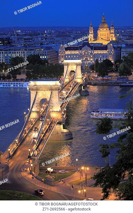 Hungary, Budapest, Chain Bridge, Danube River, Gresham Palace, St Stephen Basilica,