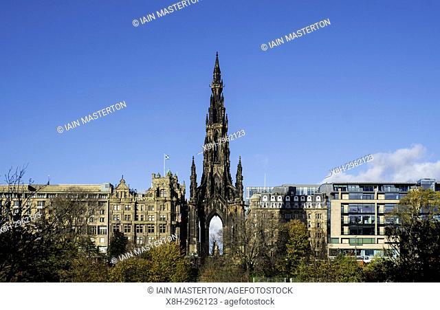 View of Walter Scott Monument on Princes Street in Edinburgh, Scotland, United Kingdom