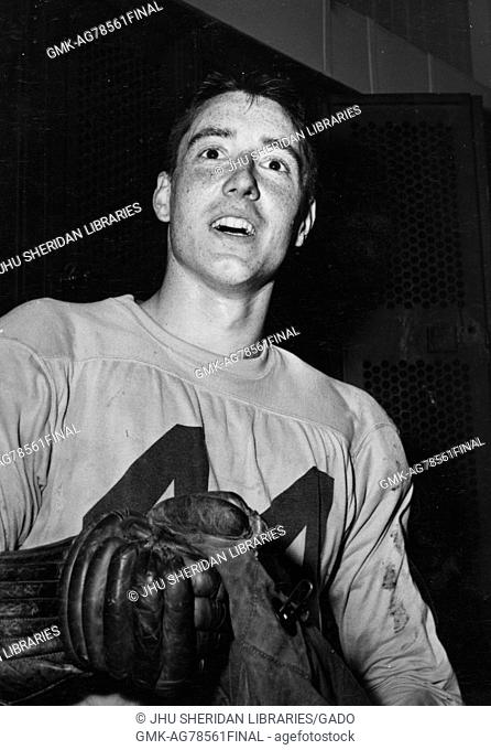Candid portrait of Johns Hopkins University lacrosse defenseman Harry Nice, 1956